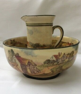 Vintage 1920s/1930s Royal Doulton Bowl and Jug Watermill Pattern