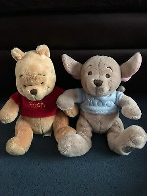 Disney Store Winnie The Pooh And Roo Plushes.