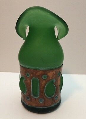 "frosted green glass 8"" vase encased in patina copper paisley dot handcrafted"