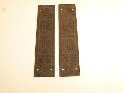 pair of antique cast iron brass bronze plated eastlake push kick plates hardware