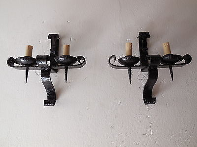 ~c 1910 French Pair  Wrought iron Medieval Castle Sconces Vintage Original Old~