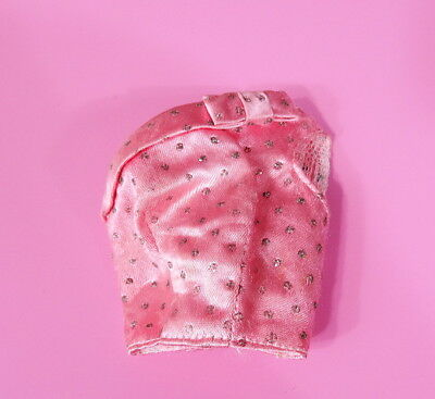 Vintage Barbie Pink Pak Satin Top With Silver Glitter Dots MINT