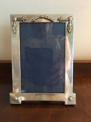"""Antique Solid Silver Photo Picture Frame 6.25"""" X 4.75"""" Lon 1909 F.b."""