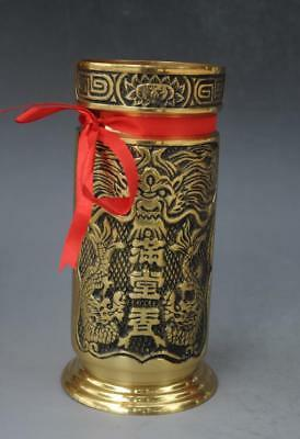 Antique chinese brass hand engraving copper dragon pattern Incense tube