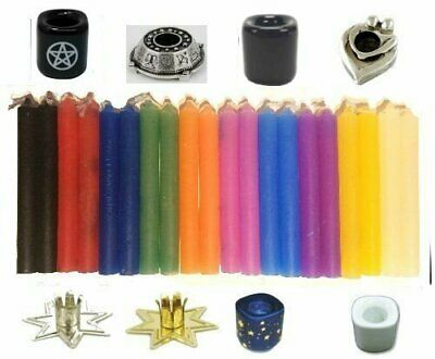 "LOT OF 20 Assorted Color Chime Spell Candles 4"" and 1 Candleholder - YOU CHOOSE"