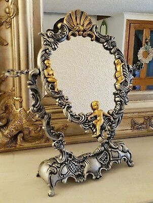 Vintage Metal Mirror Black Silver and Antique Gold Finish Cherubs Rococo Styling