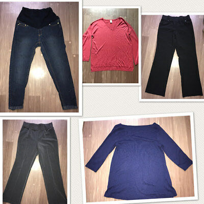 Maternity Lot Shirts and Pants Jeans 5 Pieces Medium Large