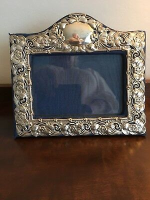 """Antique Solid Silver Photo Picture Frame 7.5"""" X 7"""" Birm 1906 - Synyer & Beddoes"""