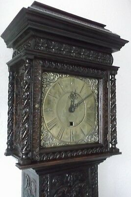 Heavily Carved Antique Longcase Grandfather Clock