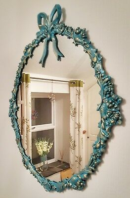 Vintage Ornate Large Solid Brass Mirror French Blue and Antique Gold Finish