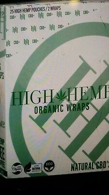 High Hemp Organic Herbal Wraps Full Box of 25 Pouches (2 Per Pouch) 50 Total