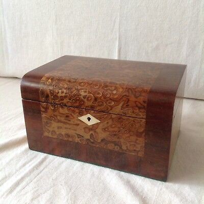 Beautiful Antique Dome Topped Jewellery/Sewing Box With Fab Veneers And Good Int