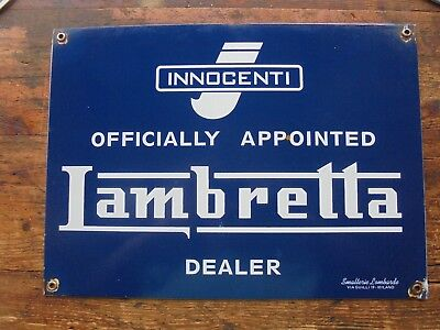 Lambetta Motor Scooters Porcelain Appointed Dealer Sign Made In Milano Italy