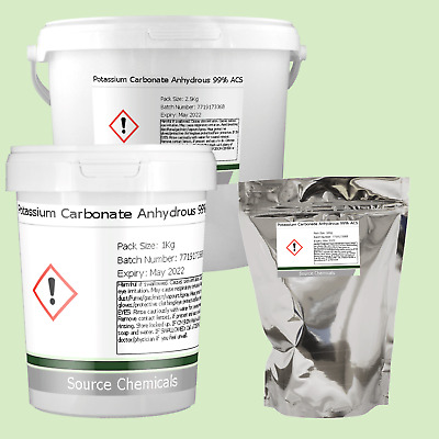 POTASSIUM CARBONATE ANHYDROUS 99% 100g to 2 5Kg