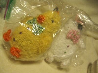 NEW EASTER BUNNY/Chick Ornament W/CROCHET ACCENT LOT OF 2-Midwest of Cannon Fall