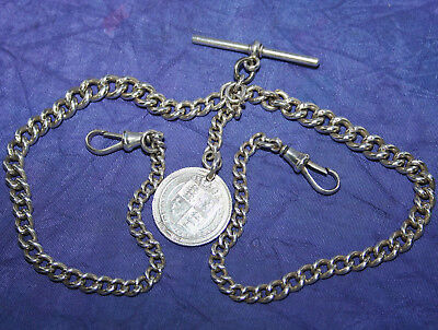 Antique Solid Silver Double Albert- Watch Chain - William Walter Cashmore-1911