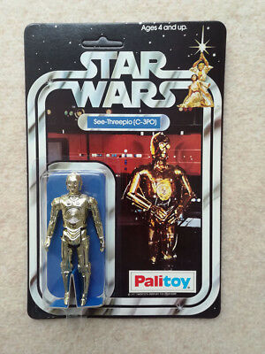 C-3PO Star Wars Action Figure, Kenner (Palitoy), 1977, MOC, unpunched, 12-back