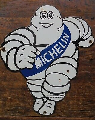 "Michelin Man Bibendum 12"" x 16' porcelain sign Made In Italy 54 black back tire"