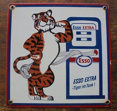 "Esso Extra German Tiger In Tank Porcelain Pump Plate Written ""tiger Im Tank"""