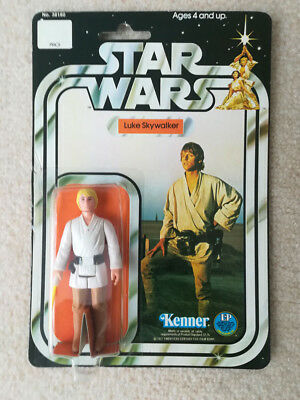 Luke Skywalker (blond hair) Star Wars Action Figure, Kenner 1977, carded 12-back