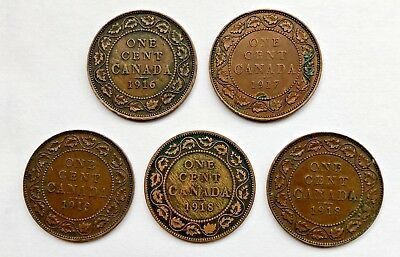 Lot Of (5) Canadian Large Cents  -  100 Year Old Coins!  -  Better Grades