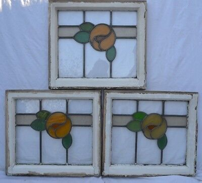 3 leaded light stained glass window panels orange pansies. R676c. DELIVERY!