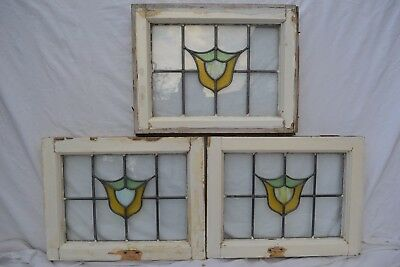 3 British leaded light stained glass windows. R664. WORLDWIDE DELIVERY!!!