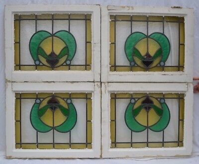 4 British leaded light stained glass windows. R662. WORLDWIDE DELIVERY!!!
