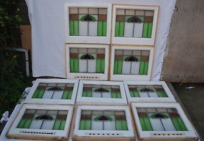 10 British leaded light stained glass window panels. R636. WORLDWIDE DELIVERY!