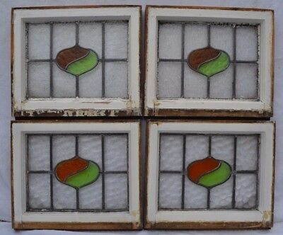 4 British art deco leaded light stained glass windows. R460b. WORLDWIDE DELIVERY
