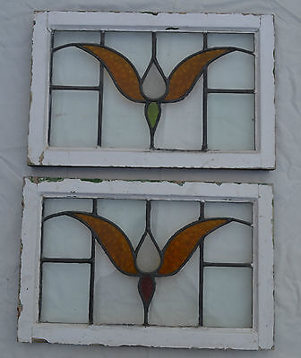 2 British leaded light stained glass windows. R431c. WORLDWIDELIVERY!!!