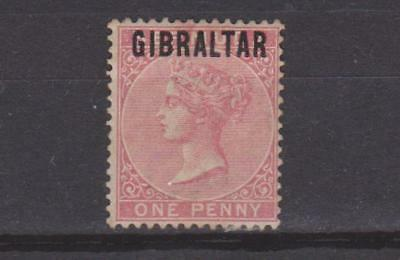 GIBRALTAR 1886 1d ROSE RED MOUNTED MINT TONED PERF