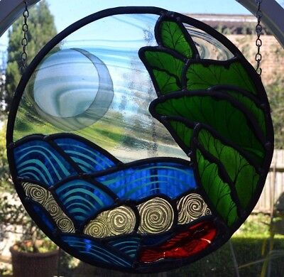 Artwork handpainted leaded light stained glass panel. FC001 WORLDWIDE DELIVERY!