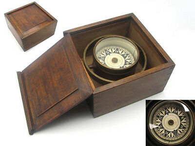 Victorian 19th century ships gimbal mounted compass in mahogany case