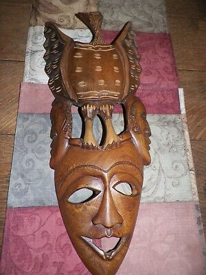 Tribal Hand Carved Wooden Mask Hanging with Eagle/Bird Stunning Art Piece OLD???