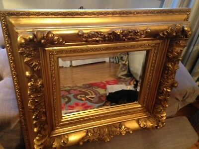 Stunning Large Antique French Wood & Gesso Gold Framed Mirror