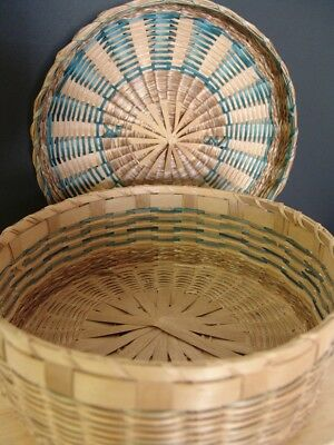 VIntage sweet grass sewing basket with 3 rare notion baskets & pincushion