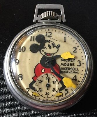Disney's Mickey Mouse Ingersoll Pocket Watch 1934 Works Perfect * Nice Replica *