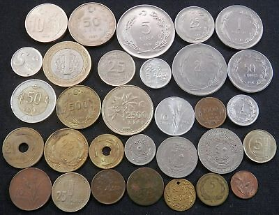 Turkey,  31 Diff Type Vintage Coins, Ottoman To Now, Along With An Old Banknote
