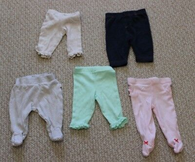 Five pairs of newborn pants for baby girl