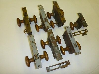 Maritime Antique Brass Locksets from a WWII U.S. Naval Ship, Door Handles, Set 7