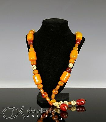Interesting Old Chinese Amber Necklace With Large Beads