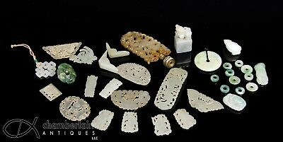 Great Large Lot Of Old Chinese Jade And Stone Carvings Pendants Etc