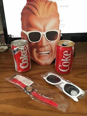 1985 Coca-Cola World Premiere of NEW Coke Can + Max Headroom mask watch glasses