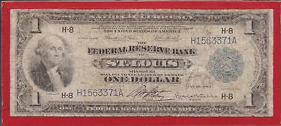 1918 $1 FRBN,Blue Seal Large Note,H-8 St. Louis,FR 730,Green Eagle,VG/F,Nice!