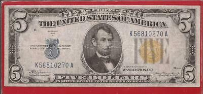 1934 A $5 Silver Certificate,WW II N. Africa,Yellow Seal,CH Very Fine,Nice!