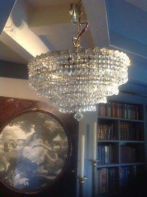 Vintage Large Waterfall Lead  Crystal Chandelier. 7 lights