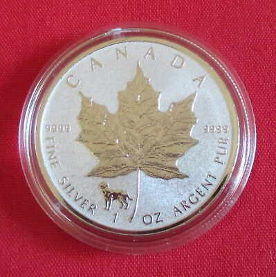 1 oz Maple Leaf 2018 mit Privy: Hund