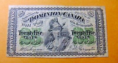 1870 Dominion of Canada Twenty-Five Cent Note - FREE SHIPPING