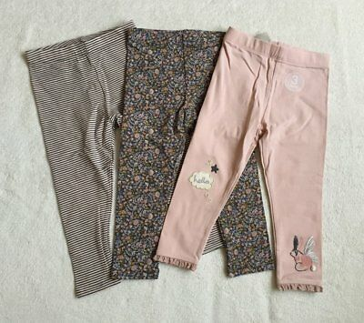 ***BNWT Next baby girl Ditsy Bunny Striped leggings 3 pack set 9-12 months***